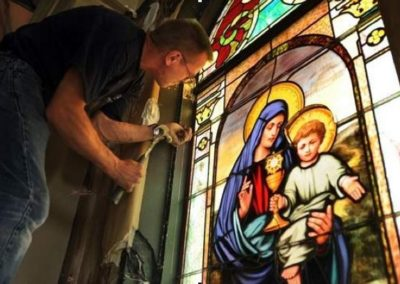 The stained glass is reinstalled at St. Mary Magdalen, Abbeville, Louisiana