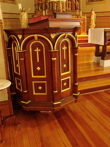 Gilding on the pulpit at St. Mary Catholic Church - Photo: Br. Stephen Treat, O.Cist.