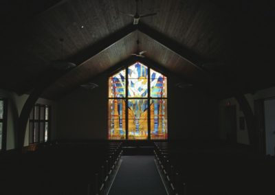 View of dramatic window in the small worship space