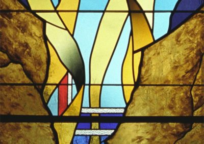 Detail of new contemporary stained glass for Greendale Community Church