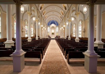 Restored interior of St. Mary Magdalen, Abbiville, Lousiana - Photo by Danny Izzo