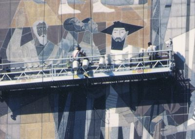 Image shows the CSS workers in relation to the massive mosaic during restoration