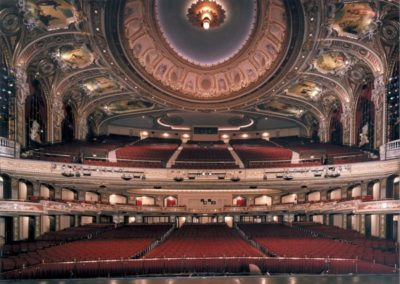Decorative painting for the Wang Theatre's auditorium, view from the stage