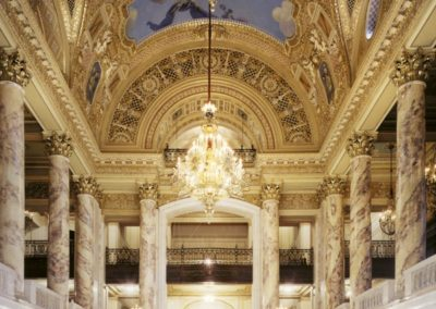 Decorative painting and scagliola restoration for the Wang Theatre's lobby