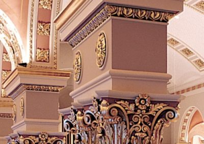 Detail of restored capitals at the Cathedral of St. John the Evangelist