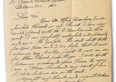 1922 letter to Conrad Schmitt regarding former decorative work