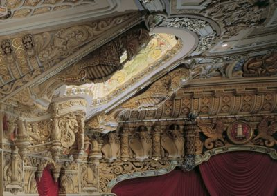 Detail of the highly decorated auditorium of the Oriental Theatre