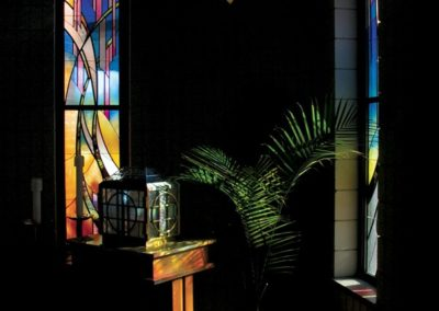 Stained glass trio in the Blessed Sacrament Chapel