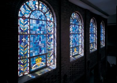 Clerestory windows in the Holy Name Memorial Chapel