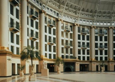 The atrium with its more than 3 miles of decorative painted canvas
