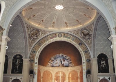 A view of the interior prior to the new mural and restoration