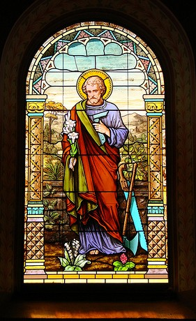 Stained glass conservation - St. Mary Catholic Church - Photo: Br. Stephen Treat, O.Cist.