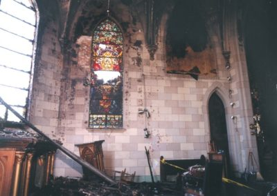 A view of the badly fire damaged Sanctuary