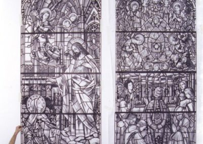 "Full -sized ""cartoons"" guide the replication of the turn-of-the-century Mayer of Munich windows"