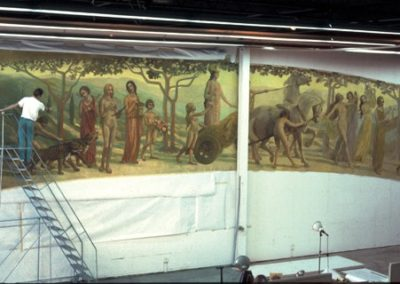 The mural being painted in the Studio