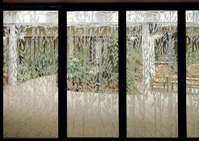 Etched doors combine glass and light