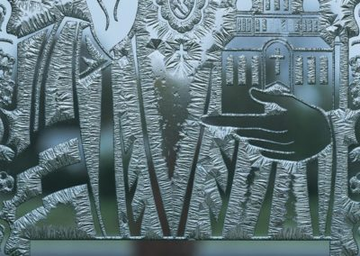 Detail of the etched glass