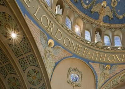 Large stencils fill the ceilings at St. James Catholic Church