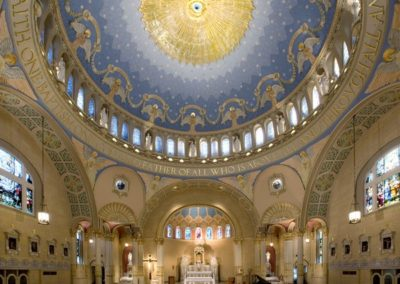 Expansive interior and its faux mosaic dome