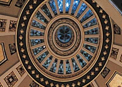 Conserved stained glass in the center of the dome