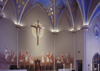 View of the altar and new mural - Photo: Jon Denker