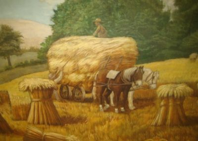A detail from the restored 'Farming' mural at the Ottawa County Courthouse
