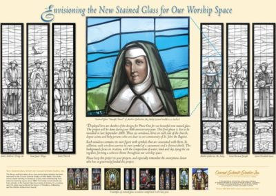 A presentation board created to present the stained glass designs to the congregation