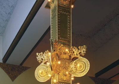 A re-created 500 lb. light fixture at Ganz Hall - Photo: Greg Murphy