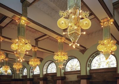 Re-created light fixtures at Ganz Hall - Photo: Greg Murphy
