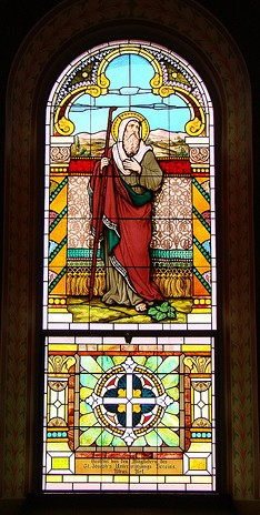 Stained glass restoration for St. Mary's Catholic Church, Altus, AR -Photo: Br. Stephen Treat, O.Cist