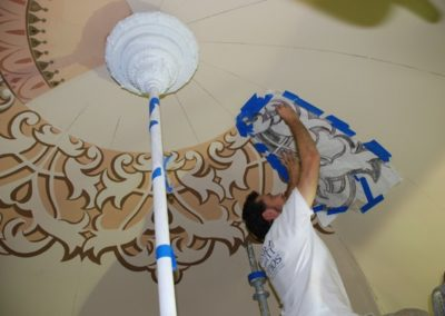 The center design in the dome is stenciled directly on the ceiling - Photo courtesy of Indiana Landmarks