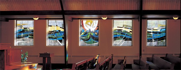 Interior view of five stained glass panels - Photo: Greg Gent