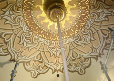 A close view of the stencils and gilding - Photo courtesy of Indiana Landmarks