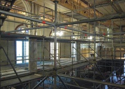 Scaffolding, which provides access for the restoration team, fills the interior during the restoration