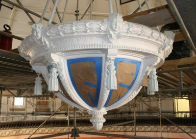 The ornamental light fixture as its being restored - Photo courtesy of Indiana Landmarks