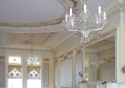 Completed Restoration - Restored parlor at the Bass Mansion, University of Saint Francis