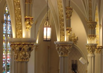 Close-up of gilded capitals at St. Joseph Catholic Church in Fremont, Ohio
